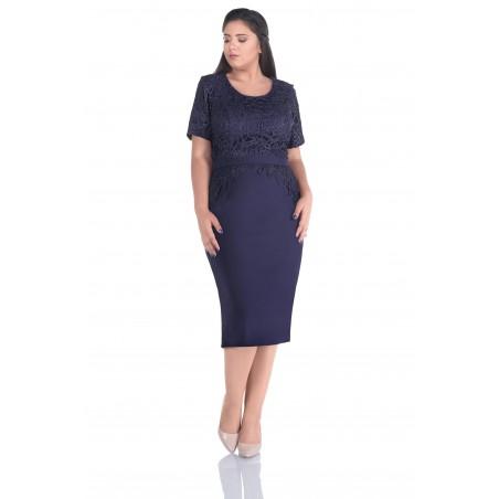 Rochie plus size eleganta Julia, Bleumarine