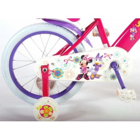 Bicicleta pentru fete 16 inch cu scaun pentru papusi roti ajutatoare si cosulet Minnie Mouse