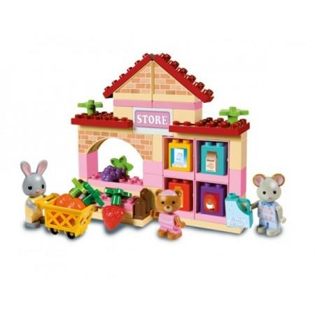 Set constructie cuburi Unico Maximilian Families Supermarket 60 piese
