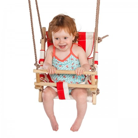Leagan pentru copii cu scaun din panza rosu - alb