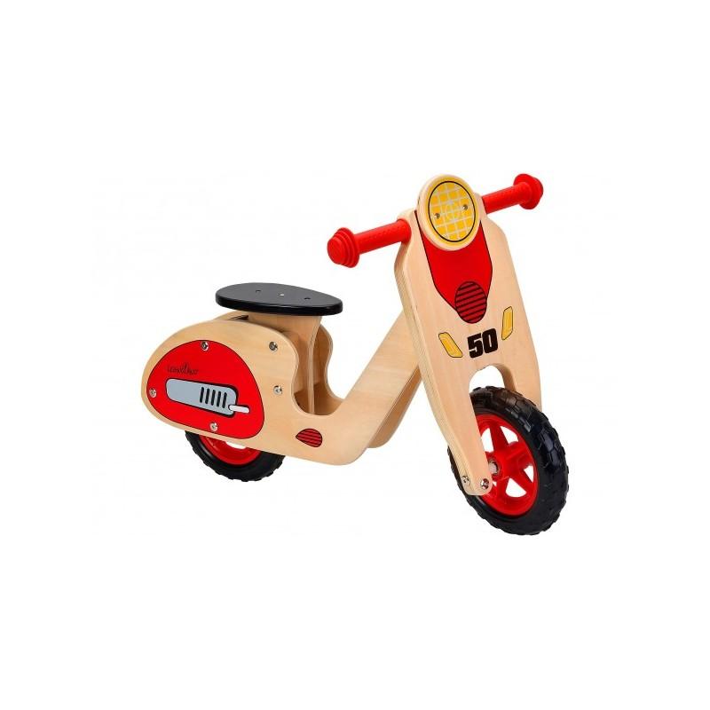 Bicicleta fara pedale din lemn Globo Legnoland 37723 pentru copii model Retro Scooter