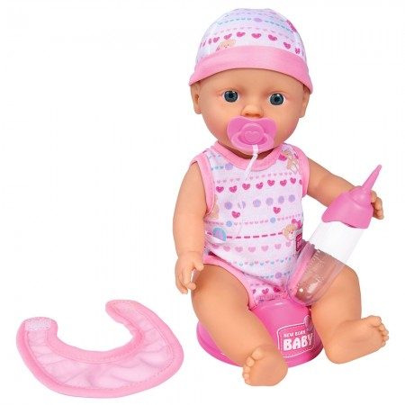 Papusa Simba New Born Baby Bebe Darling 30 cm cu olita si bavetica roz deschis