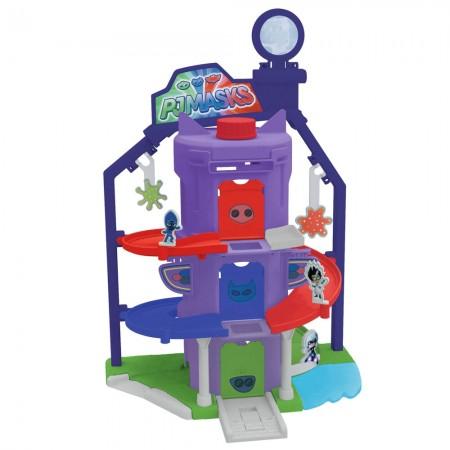 Pista de masini Dickie Toys Eroi in Pijamale Team Headquarter cu 1 masinuta si 1 figurina