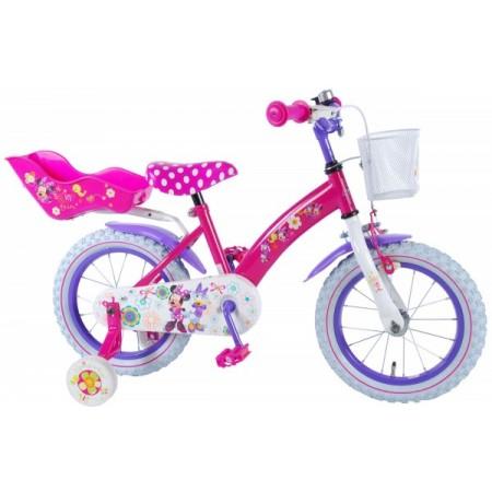 Bicicleta Volare pentru fete 14 inch cu scaun pentru papusi roti ajutatoare si cosulet Minnie Mouse
