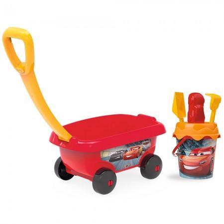 Set jucarii nisip Smoby Carucior Cars cu accesorii