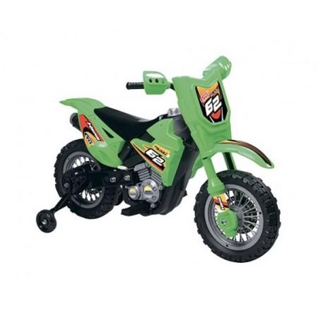 Motocicleta electrica pentru copii Enduro Motocross 6V verde cu telecomanda control parinte