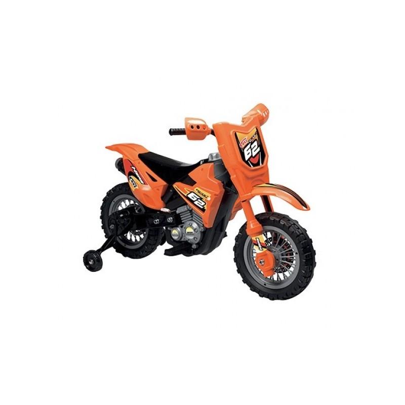 Motocicleta electrica pentru copii Enduro Motocross 6V portocalie cu telecomanda control parinte