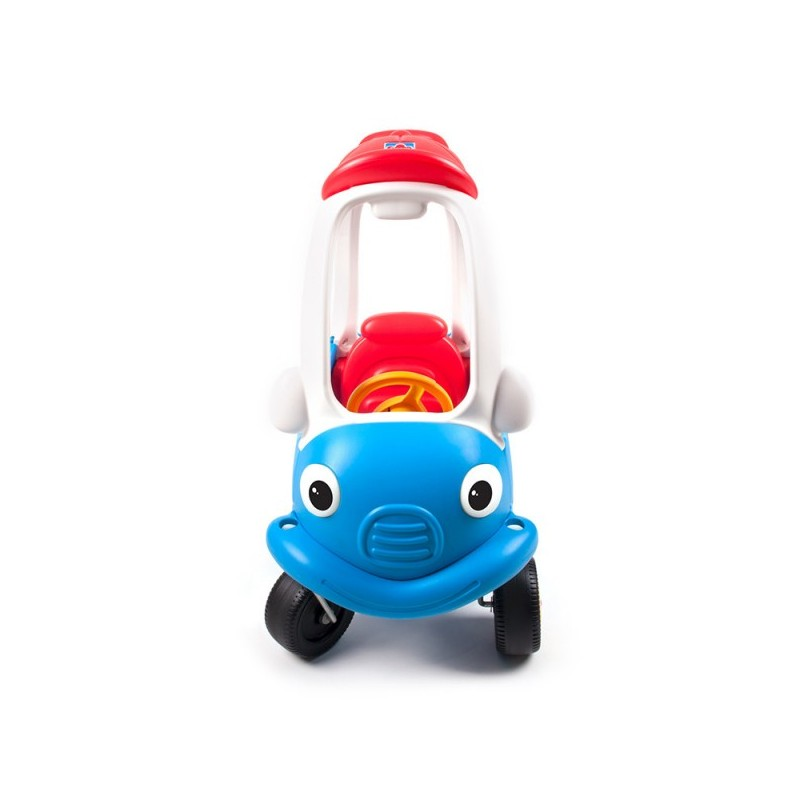 Masinuta din plastic de impins cu maner pentru control parental albastru cu rosu