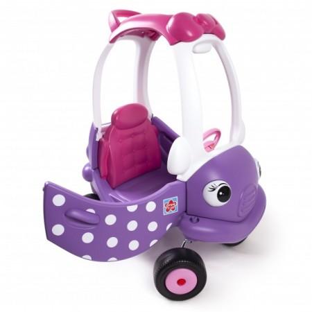Masinuta din plastic de impins cu maner pentru control parental mov cu roz