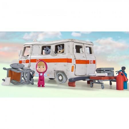 Masina Simba Masha and the Bear Ambulance cu accesorii