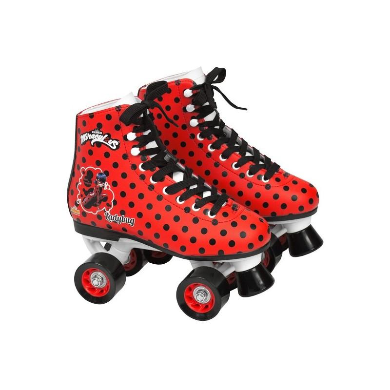 Patine cu rotile pentru fete Ladybug Buburuza Miraculoasa Saica 5836 marime 35 rosu cu buline negre 4 roti si frana