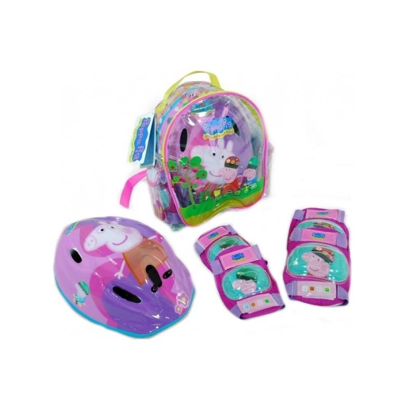 Set echipament protectie copii in ghiozdanel Saica 9126 Peppa Pig pentru role sau bicicleta cu cotiere genunchiere si casca