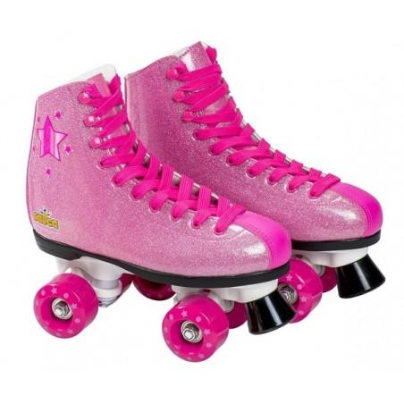 Patine cu rotile fete, marime 33, roz cu sclipici, 4 roti si frana, Saica 6991 Shak