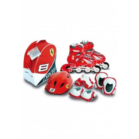 Role copii Saica reglabile 35-38 Ferrari cu protectii si casca in ghiozdan