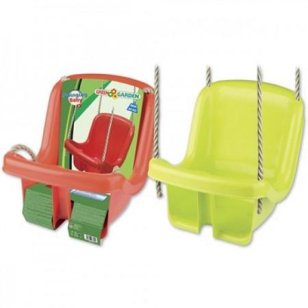 Leagan din plastic copii pentru exterior Androni cu spatar verde sau rosu