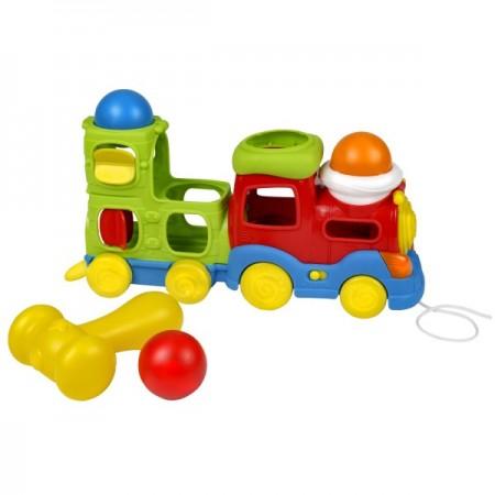 Trenulet muzical cu bile Winfun si ciocan pentru copii