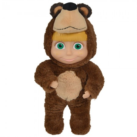 Papusa Simba Masha and the Bear 2 in 1 Masha 25 cm in costum de urs