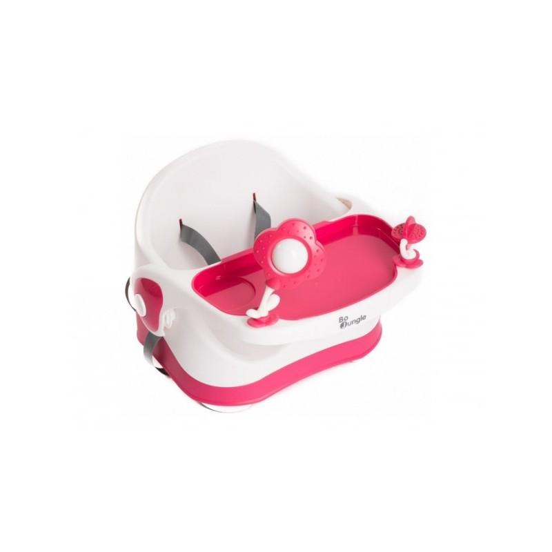 Scaun de masa bebelusi booster si inaltator detasabil Bo Jungle cu tavita detasabila roz
