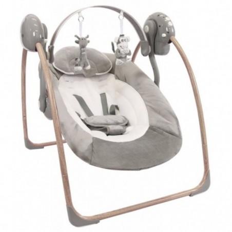 Leagan portabil BO Jungle Gri pentru bebelusi din lemn cu arcada jucarii