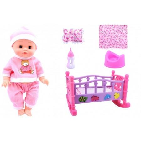 Papusa fetita 33 cm cu pijama roz sau bleu interactiva Globo Bimbo 39484 patut balansoar cu asternuturi si biberon cu olita