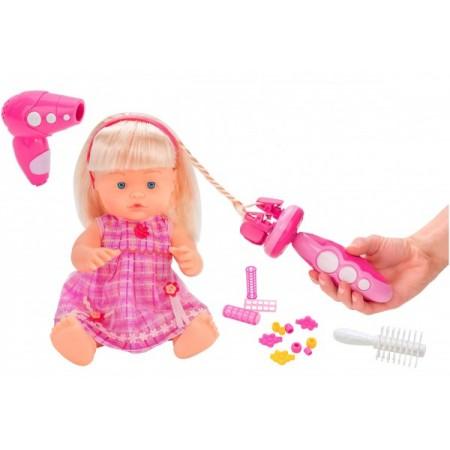 Papusa fetita cu sunete 40 cm Globo Bimbo 38931 cu accesorii frumusete si dispozitiv impletit parul