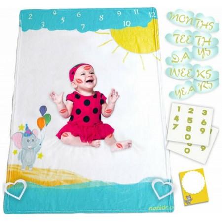 Milestone Blanket Paturica pufoasa pentru fotografii si amintiri nou nascuti si bebelusi Nonidoo Elefantul cu baloane