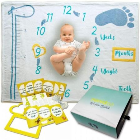 Milestone Blanket Paturica pufoasa pentru fotografii si amintiri nou nascuti si bebelusi Nonidoo Girafa vesela