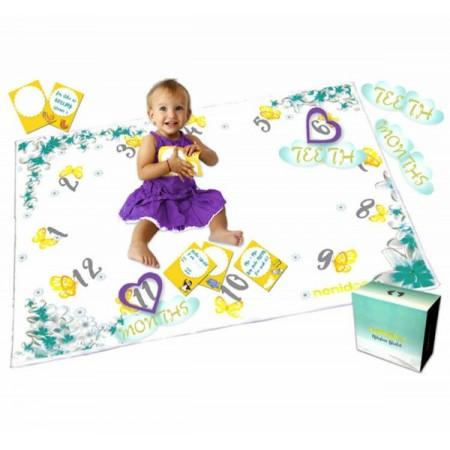 Milestone Blanket Paturica pufoasa pentru fotografii si amintiri nou nascuti si bebelusi Nonidoo Flori si fluturi