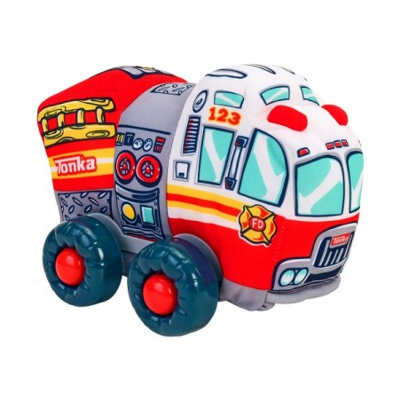 Jucarie moale pentru copii tip masina de Pompieri Globo Tonka cu sunete cu roti si accesorii din plastic Rosie