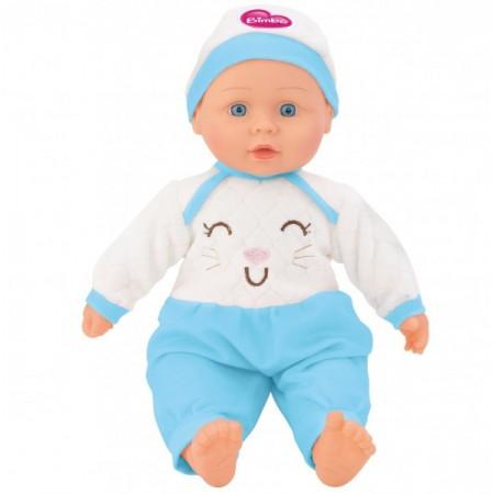 Papusa fetita cu sunete 40 cm Globo Bimbo 39461 cu costum pisicuta roz sau bleu si caciula