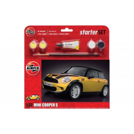Kit constructie Airfix masina MINI Cooper S Starter Set - Yellow 1:32