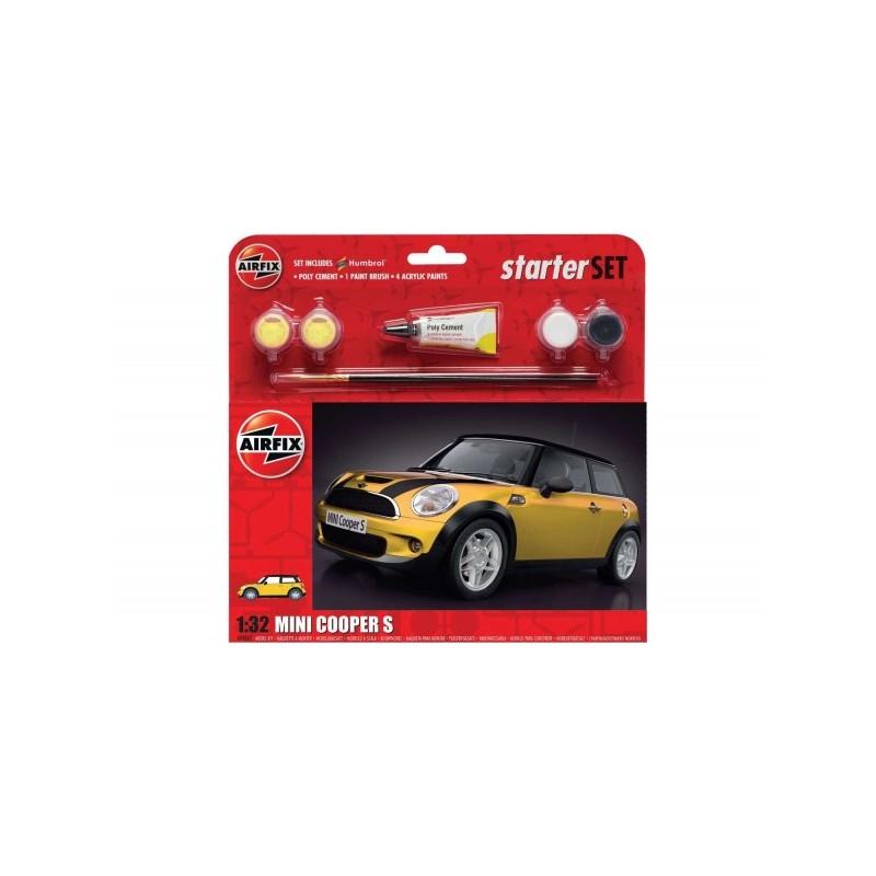 Kit constructie Airfix masina MINI Cooper S Starter Set - Yellow 1:32