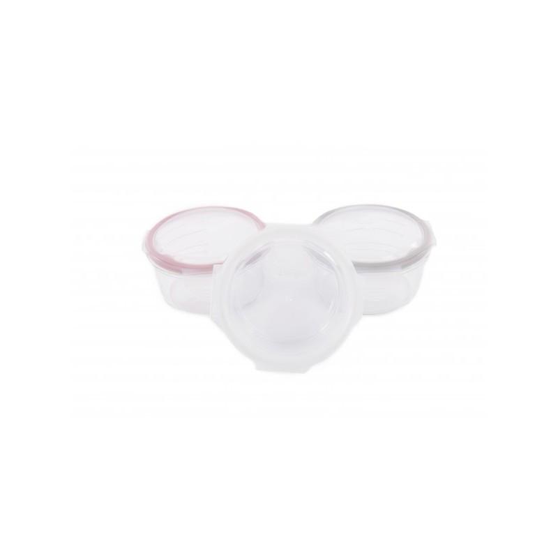 Set 3 Mini Caserole stocare si depozitare mancare BO Jungle pentru bebelusi roz din sticla cu capac 360 ml