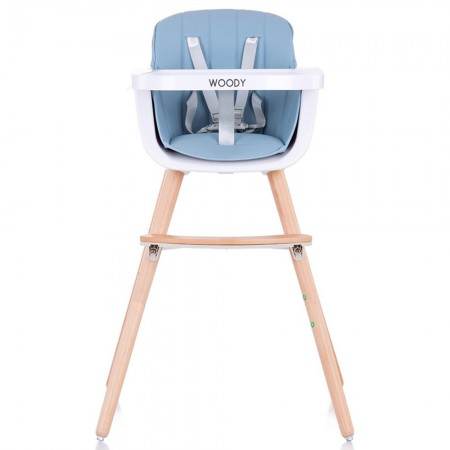 Scaun de masa bebe copii 6 luni +, tavita si inaltime reglabila, albastru, Chipolino Woody sky