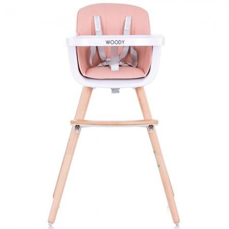 Scaun de masa bebe copii, sezut rotativ, tava reglabila si detasabila, roz, Chipolino Woody 3 in 1