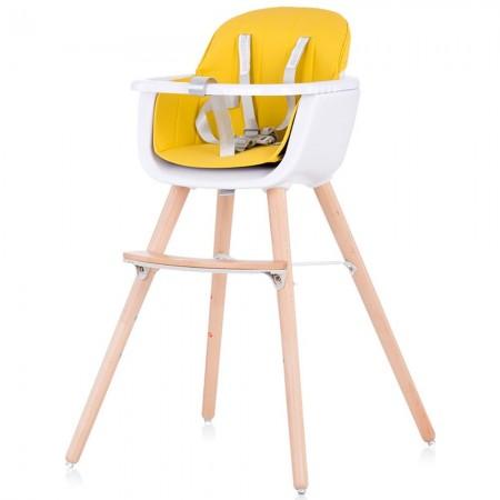 Scaun de masa bebe, galben, 6 luni +, tavita, inaltime reglabila, centura, picioare lemn de fag, Chipolino Woody sky