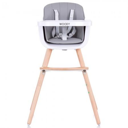 Scaun de masa copii 6 luni +, tavita si inaltime reglabila, gri, Chipolino Woody sky