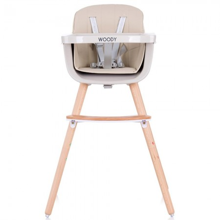 Scaun de masa bebe copii, sezut rotativ, tava reglabila si detasabila, bej, Chipolino Woody 3 in 1