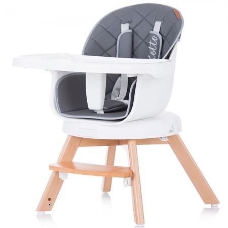 Scaun de masa bebe copii, sezut rotativ, tava reglabila si detasabila, gri, Chipolino Woody 3 in 1