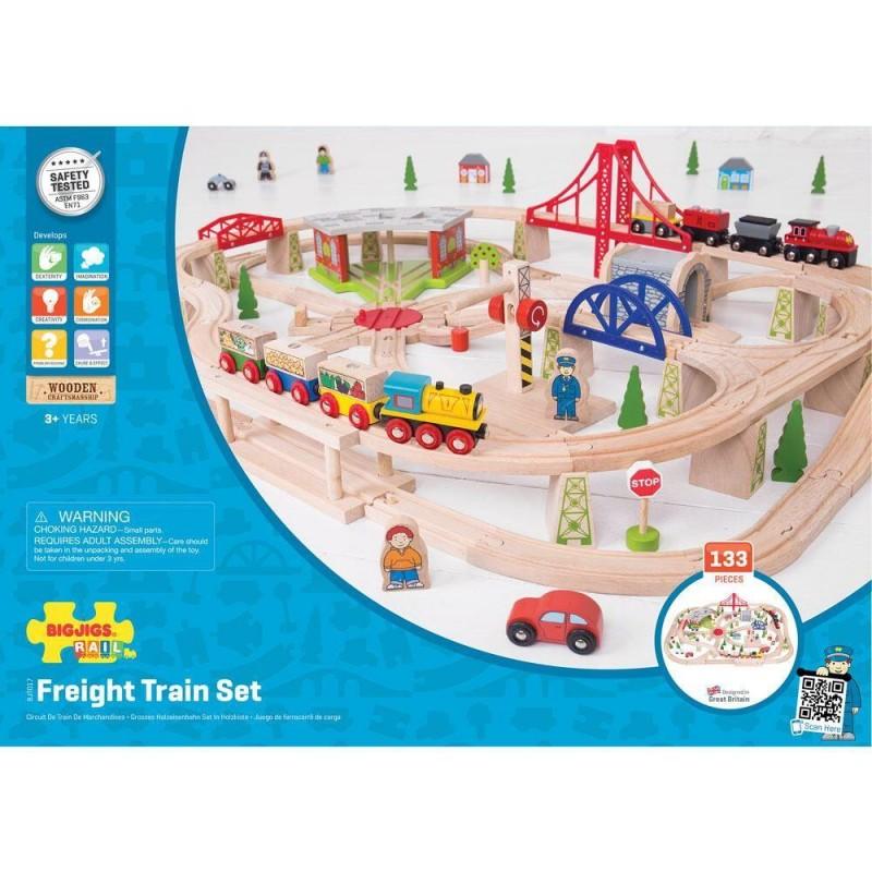 Circuit cu tren marfar (133 piese) Bigjigs