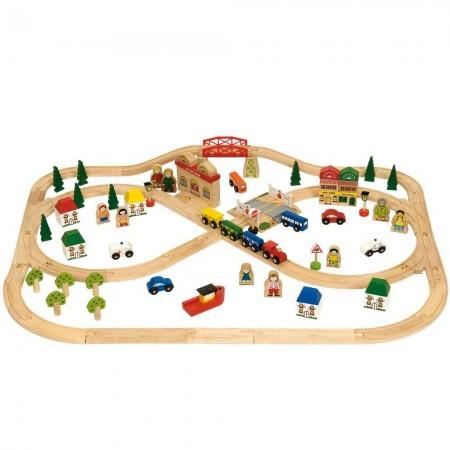 Circuit auto si feroviar (101 piese) Bigjigs