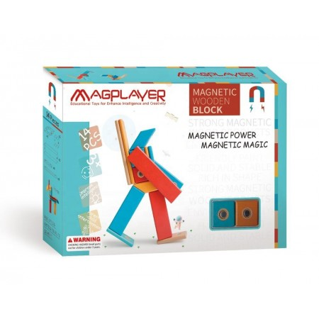 Set magnetic din lemn - 14 piese Magplayer