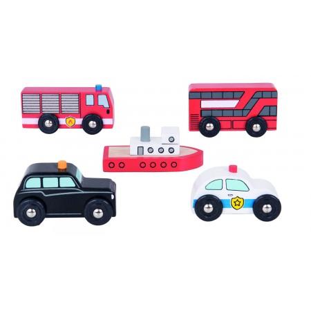 Set 5 vehicule din lemn Bigjigs