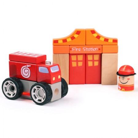 Set de constructie - Sectia de pompieri Topbright