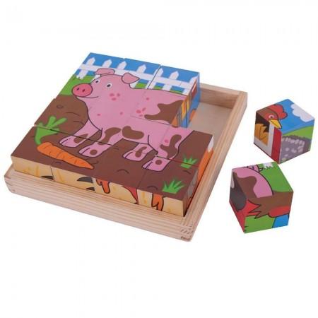 Puzzle cubic - Animalute de la ferma Bigjigs