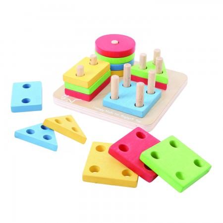 Joc de sortare - 4 forme geometrice Bigjigs
