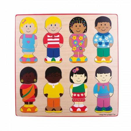Puzzle din lemn - micutii prieteni Bigjigs