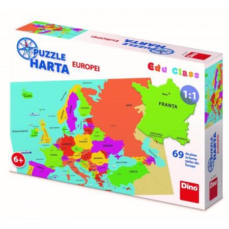 Puzzle geografic - Harta Europei (69 piese) Dino Toys