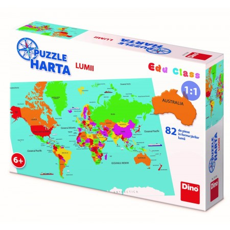 Puzzle geografic - Harta Lumii (82 piese) Dino Toys