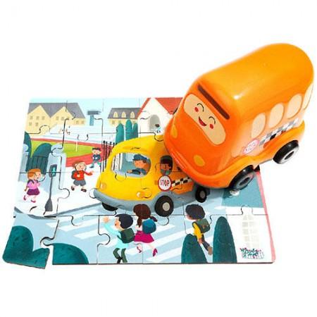 Puzzle din lemn - Autobuzul scolii Topbright